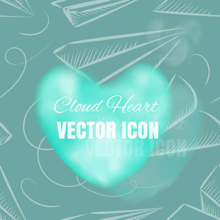 Cloud Heart Realistic 3d Icon on Blue Background. Beautiful Romantic Symbol with Smoke Texture Illustration