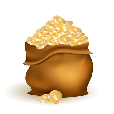 Bag with Golden Coins Realistic 3d Vector Illustration for Game or Prize Concept