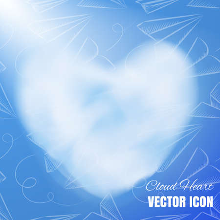 Cloud Heart Realistic 3d Vector Icon on Blue Background. Beautiful Romantic Symbol with Smoke Texture 向量圖像