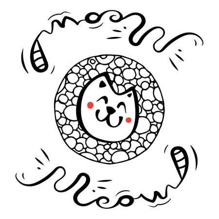 Dibujado a mano icono de gato Doodle simple blanco y negro. Ilustración de dibujo vectorial para diseño de impresión de camiseta