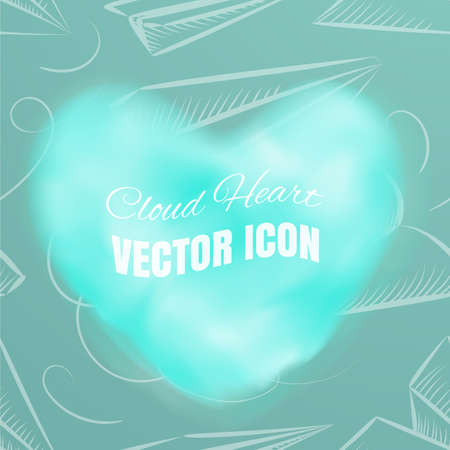 Cloud Heart Realistic 3d Vector Icon on Blue Background. Beautiful Romantic Symbol with Smoke Texture