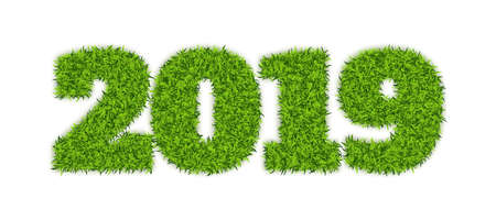 Green Grass 2019 on White Background. Eco Numbers Symbol for New Year or Calendar Design. 3D Vector Illustration