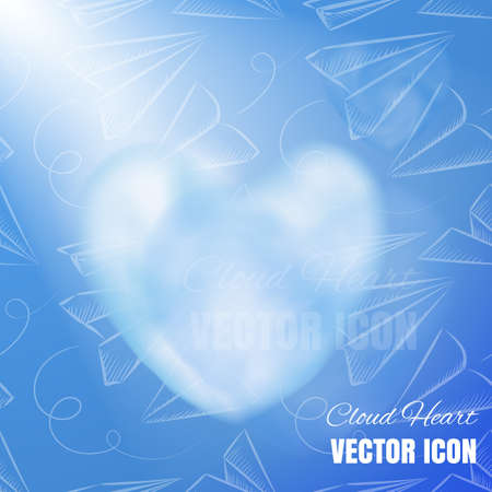 Cloud Heart Realistic 3d Vector Icon on Blue Background. Beautiful Romantic Symbol with Smoke Texture Illusztráció