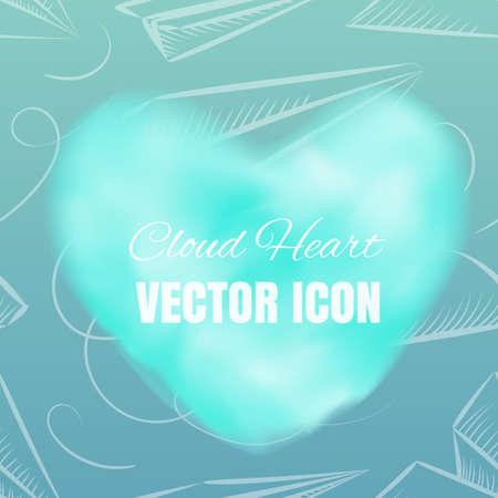 Cloud Heart Realistic 3d Vector Icon on Blue Background. Beautiful Romantic Symbol with Smoke Texture Stock Photo