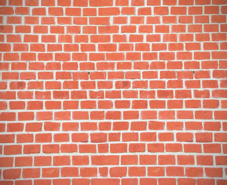 New Brown Terracotta Brick Blocks Wall Background Close Up. Vertical Pattern with Red Bricks or Brickwork House Interior or Exterior Stok Fotoğraf