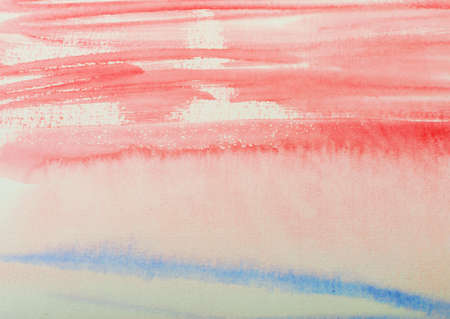 Hand Drawn Watercolor Brush Strokes Background or Pattern. Trendy Shades of Blue and Red Called Chili Oil and Cherry Tomato on Watercolour Paper Texture Imagens - 106049607