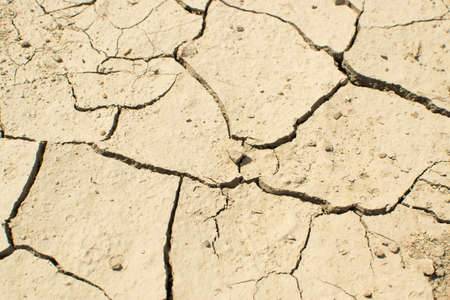 Cracked dry earth top view as drought and global warming concept. Broken clay soil texture with cracks on surface Standard-Bild