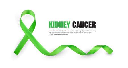 Nastro di raso simbolico di consapevolezza del cancro del rene verde isolato su priorità bassa bianca con il posto per testo. Illustrazione realistica di vettore 3d Vettoriali