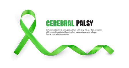Symbolisches Satinband des grünen Cerebralparese-Bewusstseins lokalisiert auf weißem Hintergrund mit Platz für Text. Realistische 3D-Vektor-Illustration