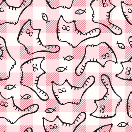 Doode Cute Seamless Pattern with Cat on Gingham Background. Little Kittens Baby Cartoon Endless Print. Kid Fabric Tamplate with Big and Little Cats on Traditional Checkered Backdrop