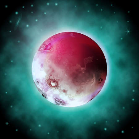 Realistic Vector Illustration of Red Moon. 3D Planet of the Dark Space Background with Flickering Stars Фото со стока - 112141776