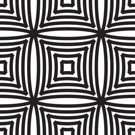 Abstract seamless pattern with rhombus and squares. Black and white endless romb background. Classic repetitive geometric vector illustration