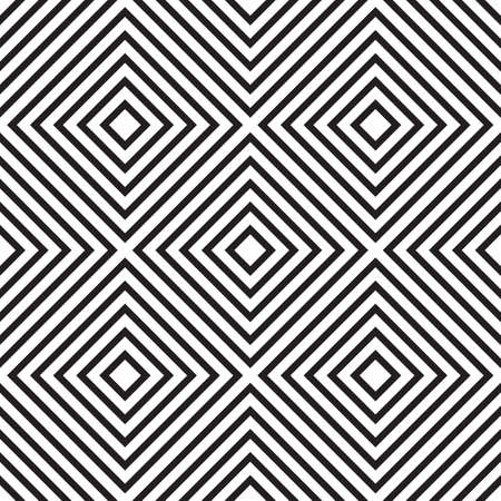 Abstract seamless pattern with rhombus and squares. Black and white endless romb background. Classic repetitive geometric vector illustration Imagens - 112141785