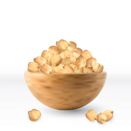 Raw Dry Chickpea Grains in Wooden Bowl Isolated on White Background. Realistic 3D Vector Illustration