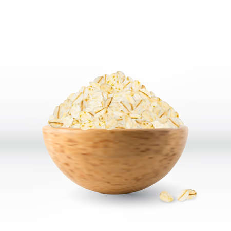 Dry Raw Oat Flakes in Wooden Bowl Isolated on White Background. Vector 3d Realistic Illustration of Rolled Flat Grains of Wheat, Bran, Barley, Rye Cereals for Muesli or Granola