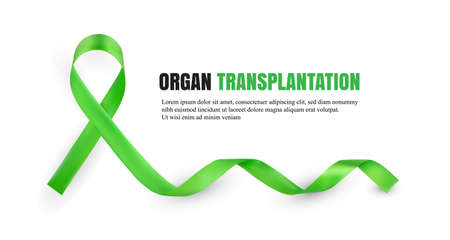 Green Organ Donation Awareness Symbolic Satin Ribbon Isolated on White Background with Place for Text. Realistic 3d Vector Illustration Stok Fotoğraf - 112141846