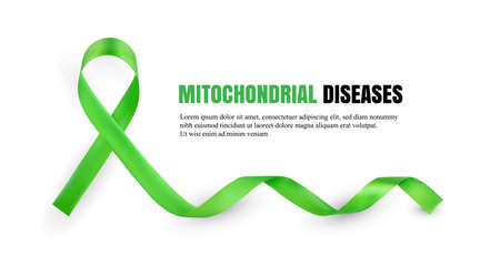 Green Mitochondrial Diseases Awareness Symbolic Satin Ribbon Isolated on White Background with Place for Text. Realistic 3d Vector Illustration Illustration