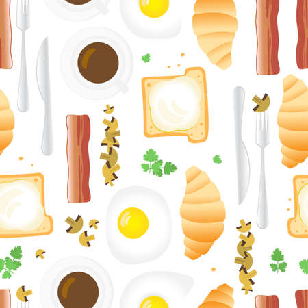 Breakfast Seamless Pattern in Flat Cartoon Style. Fried Eggs, Bacon, Mushrooms, Parsley, Coffee, Croissants, Bread and Butter on White Background Illustration