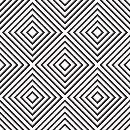 Abstract seamless pattern with rhombus and squares. Black and white endless romb background. Classic repetitive geometric vector illustration Vektorové ilustrace