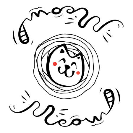 Hand Drawn Black and White Simple Doodle Cat Icon. Vector Sketch Illustration for T Shirt Print Design Vectores