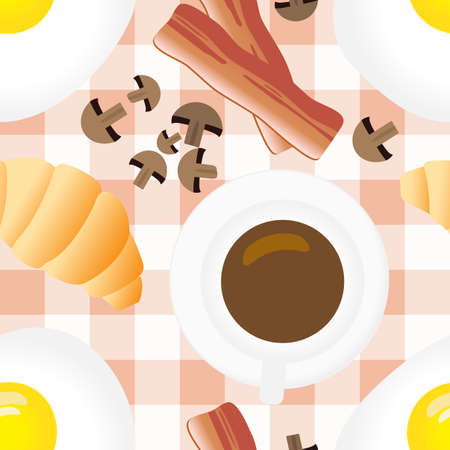 Breakfast Seamless Pattern in Flat Cartoon Style. Fried Eggs, Bacon, Mushrooms, Coffee, Croissants on Gingham Background