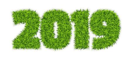 Hierba verde 2019 sobre fondo blanco. Símbolo de números ecológicos para año nuevo o diseño de calendario. Ilustración vectorial 3D