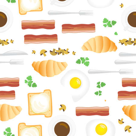 Breakfast Seamless Pattern in Flat Cartoon Style. Fried Eggs, Bacon, Mushrooms, Parsley, Coffee, Croissants, Bread and Butter on White Background Иллюстрация