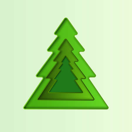 Christmas tree 3D vector abstract background with green paper. Papercut geometric frame with place for text for Xmas or New Year design, greening cards, presentations, flyers, posters 向量圖像