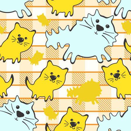 Doode Cute Seamless Pattern with Cat on Gingham Background. Little Kittens Baby Cartoon Endless Print. Kid Fabric Tamplate with Big and Little Cats on Traditional Checkered Backdrop 向量圖像