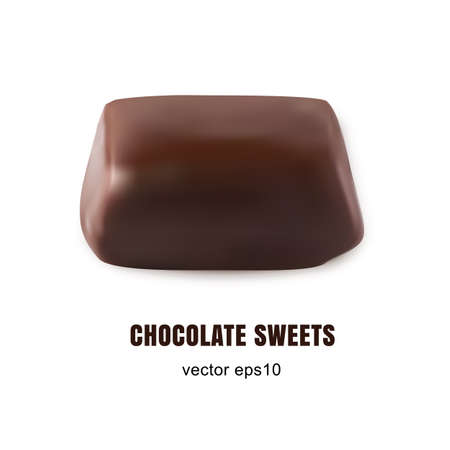 Beautiful Realistic 3D Vector Sweet Chocolate Candy Close Up Isolated on White Background. Macro Photo of Brown Cocoa Chocolates, Sweets, Truffles or Bonbons