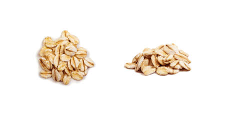 Dry Raw Oat Flakes Isolated on White Background. Rolled Flat Grains of Wheat, Bran, Barley, Rye Cereals for Muesli or Granola