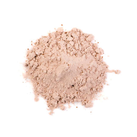 Whey cocoa protein powder for brown fitness shake isolated on white background top view. Chocolate supplement powder pile close up