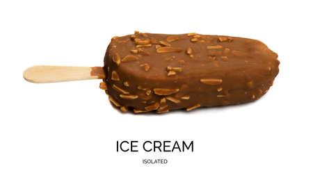 Bitten off chocolate almond popsicle ice cream bar on a wooden stick isolated on white background. Frozen milk yogurt or eskimo dessert with cocoa glaze, peanuts, hazelnut