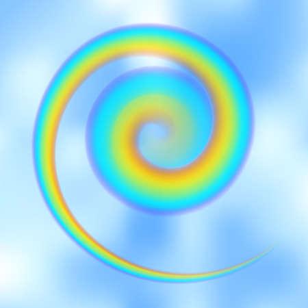 Arc-en-ciel tordu en spirale dans le ciel bleu parmi les nuages légers. Illustration vectorielle réaliste de vortex d'arc de pluie avec des brosses de maille incluses