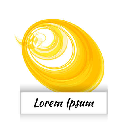 Simple watercolor circle or aquarelle round stain isolated on white background. Yellow watercolour round backdrop template or acrylic vector illustration for easy editable design