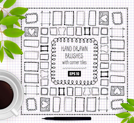 Set of Vector Doodle Pattern Seamless Brushe. Hand Drawn Creative Ink Frames or Borders Collection.  イラスト・ベクター素材