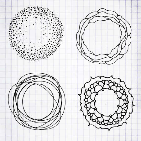 Set of Sketched Handwritten Blue Pencil Doodle Borders or Circles. Vector Illustration of Hand Drawn Scribble Circle Frames on Notebook Sheet  イラスト・ベクター素材