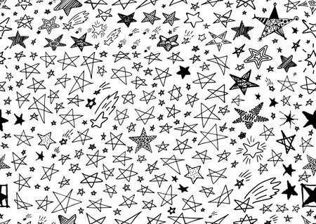 Set of Hand Drawn Creative Vector Star Icons Isolated on White Background. Favorite Vector Symbol or Button Elements Sketched Doodle Silhouettes
