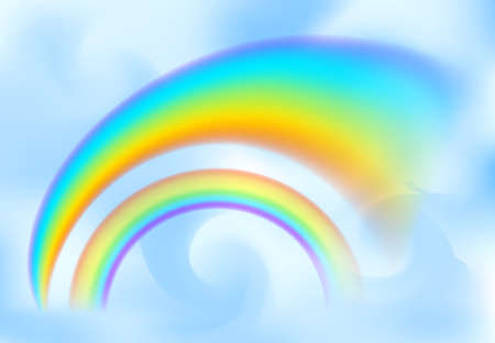 Rainbow in the blue sky among the light clouds. Rain bow realistic vector illustration with mesh brushes included Çizim