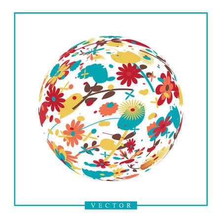 Abstract vector 3d shape or planet sphere illustration with flower ornament. Circle logotype with natural floral pattern Stock fotó - 113119145