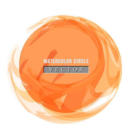 Simple watercolor circle or aquarelle round stain isolated on white background. Watercolour round backdrop template or acrylic vector illustration for easy editable design