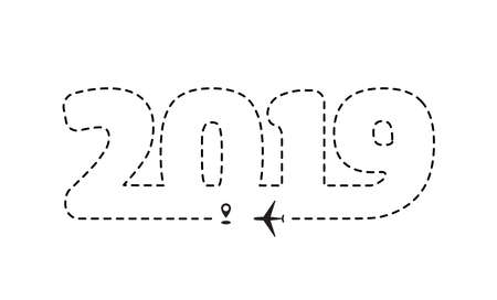 Airplane 2019 dotted path, aircraft tracking, trace or road vector illustration. New Year plane track to point, line way, air lines
