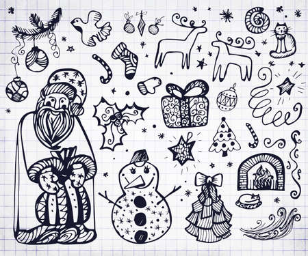 Hand drawn Christmas set with deer, tree, cake, gingerbread, mittens, toys, snowman, santa, gifts and socks. Handwritten template for winter design on notebook sheet Ilustrace