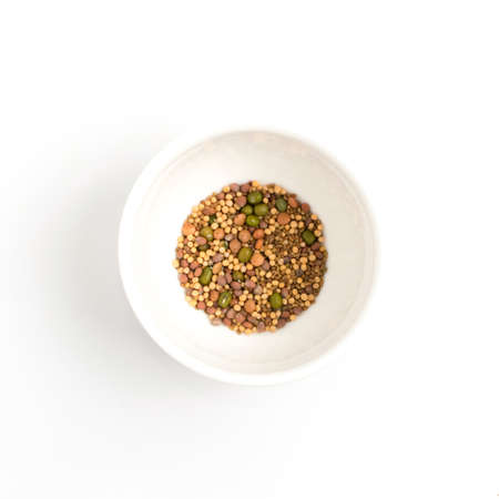 Edible seed mix with dry radish, mustard, lentils, alfalfa seeds and mung beans isolated on white background. Seed mixture for healthy nutrition in white bowl Banque d'images - 114271100