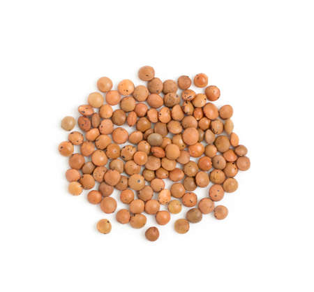 Dry brown lentils seeds or vegan protein source isolated on white background top view. Macro photo of edible legume of lens culinaris or lens esculenta close up Banque d'images - 114271236