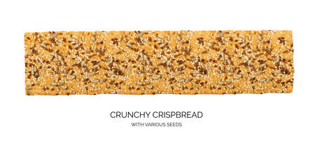 Crunchy gluten free crispbread with various seeds top view. Whole grain wheat crisp bread or cracker with sesame, sunflower and flax seed close up Reklamní fotografie