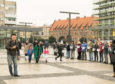 WROCLAW - POLAND - DECEMBER 2, 2018: Protest against Russian aggression in the Azov sea in support of arrested Ukrainian sailors. Protesters holding plaques with the names of prisoners Editorial