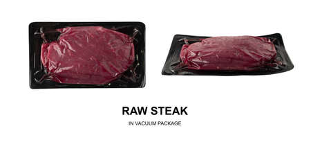 Vacuum black plastic pack with fresh beef steak isolated on white background. Raw meat packed without label top view