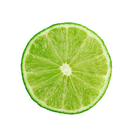 Sour key section or slice of lime isolated on white background. Little juicy green lemon or fresh organic citrus