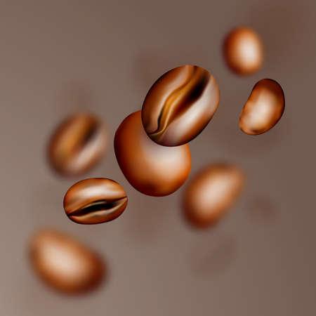 Sfondo di chicchi di caffè Arabica e Robusta tostati medi. Modello vettoriale 3d realistico di chicchi di caffè volanti con posto per testo